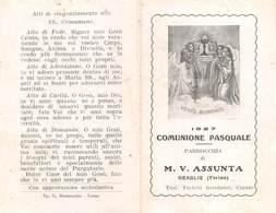 "08338 ""PARROCCHIA M. V. ASSUNTA - REAGLIE - TORINO - RICORDO COMUNIONE PASQUALE 1927"" IMM. RELIG. ORIG. - Santini"