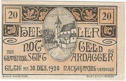 Austria (NOTGELD) 20 Heller 30-12-1920 Ardagger KON 51 A.c.2 UNC - Austria