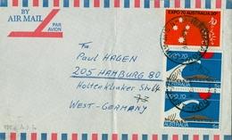 1970 , AUSTRALIA , CORREO AÉREO , BROADMEADOW - HAMBURGO , EXPOSICIÓN INTERNACIONAL DE OSAKA , YV. 402 / 403 - 1966-79 Elizabeth II