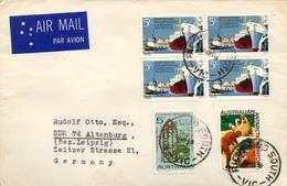 1969 , AUSTRALIA , CORREO AÉREO , MELBOURNE - ALTENBURG , PORTS AND HARBORS CONFERENCE - 1966-79 Elizabeth II