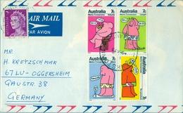 1973 , AUSTRALIA , CORREO AÉREO , BANKSTOWN - OGGERSHEIM , METRIC CONVERSION - 1966-79 Elizabeth II