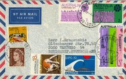 1979 , AUSTRALIA , CORREO AÉREO , BELL PARK - HAMBURGO , FRANQUEO MÚLTIPLE - 1966-79 Elizabeth II