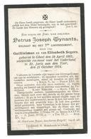Doodsprentje Soldaat 7e Linieregiment Geel + Nieuwpoort Sint-Joris 1914 - Santini