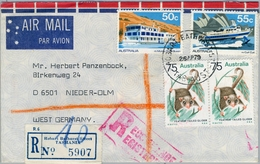 1979 , AUSTRALIA  , CERTIFICADO - CORREO AÉREO , HOBART , BATHURST STREET - NIEDER OLM , FAUNA, BARCOS - 1966-79 Elizabeth II