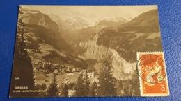 """Ancienne Carte Postale Suisse : Wengen : Valeur Philatèlique """" Affranchissement Au Vèrso """" - Suisse"""
