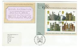 Great Britain / England / Engeland FDC Historical Buildings Stamp Exhibition 1980 With Block - FDC