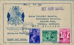 1950 TONGA  , CORREO AÉREO , NUKUALOFA - AUCKLAND , REINA SALOTE - Tonga (1970-...)