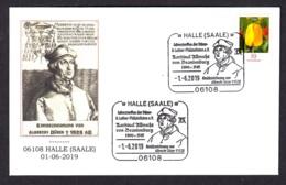 6.- GERMANY 2019 SPECIAL POSTMARK PAINTING OF ALBRECHT DURER- CARDINAL ALBRECHT  OF BRANDENBOURG - HALLE - SAALE - Arte