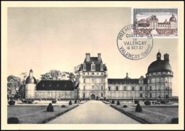 1163/ Carte Maximum (card) France N°1128 Château (castle) De Valençais Indre 1957 Fdc Premier Jour - Cartes-Maximum