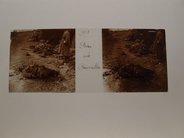 Photo Plaque De Verre Stéréoscopique Guerre 14-18 Prise De Courcelles 1918 - Diapositiva Su Vetro