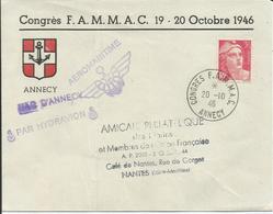 1946 - N° 716 SEUL Sur Lettre - CONGRES FAMMAC  ANNECY  20/10/1946 - PAR HYDRAVION - AEROMARITIME - Marcophilie (Lettres)