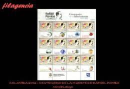 AMERICA. COLOMBIA MINT. 2012 CENTENARIO DE LA MUERTE DE RAFAEL POMBO. ESCRITOR COLOMBIANO. MINIPLIEGO - Colombia