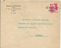 1946 - N° 716 SEUL Sur Lettre - Griffe : LE MANS - Marcophilie (Lettres)