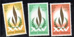 ETP182 - ETIOPIA 1973 ,  Yvert  N. 692/694 *** MNH  DIRITTI UOMO - Etiopia