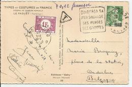 1948 N° 716A Seul Sur Carte TAXEE En BELGIQUE - Lettres & Documents