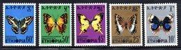 ETP189 - ETIOPIA 1975 ,  Yvert  N. 725/729 *** MNH  FARFALLE PAPILLON BUTTERFLIES - Ethiopia