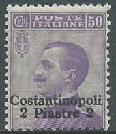 1909-11 LEVANTE COSTANTINOPOLI EFFIGIE 2 PI SU 50 CENT MNH ** - RA19-5 - 11. Foreign Offices