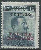 1916 LEVANTE VALONE EFFIGIE 20 CENT SU 30 PA SU 15 CENT MNH ** - RA17-8 - 11. Foreign Offices