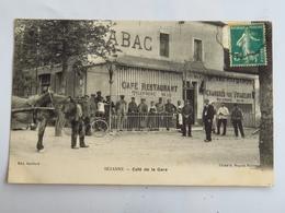"""C. P. A. : 51 SEZANNE : Café De La Gare, """" Chambres Pour Voyageurs"""", Animé, Cheval, Timbre - Sezanne"""