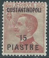 1923 LEVANTE COSTANTINOPOLI EFFIGIE 15 PI SU 85 CENT MNH ** - RA19-6 - 11. Foreign Offices