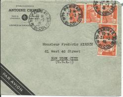 1946 - TRES BEL AFFRANCHISSEMENT ( N° 722 X 5)  Sur Lettre PAR AVION Vers NEW YORK  21/02/1946 - Lettres & Documents