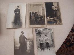 Lot (1) De 5 CPA Photo Militaria 14-18 Poilus - Guerre 1914-18