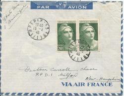 1946 - N° 730 (paire) Sur Lettre PAR AVION Vers MILFORD   U.S.A.    15/03/1946 - Lettres & Documents