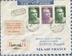 1948 - REPRISE RELATION FRANCE-ESPAGNE Par AIR FRANCE - SUPERBE AFFRANCHISSEMENT - Retour Envoyeur - Lettres & Documents