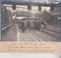 GRÈVE DES CHEMINS DE FER NORD GARE DE NORD TRAINS ARRÊTÉS PONT MARCADET 18*13CM Maurice-Louis BRANGER PARÍS (1874-1950) - Trenes