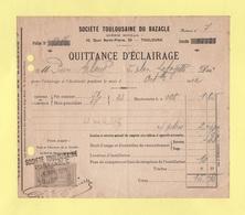 Fiscaux - Quittance D'eclairage - 1912 - Toulouse - Revenue Stamps
