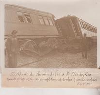 ACCIDENT DE CHEMIN DE FER A ST DENIS  EXPRESS EUROPÉENS  18*13CM Maurice-Louis BRANGER PARÍS (1874-1950) - Trenes