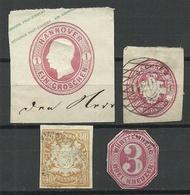 Altdeutschland Old German States, 4 Postal Stationery Cut Outs Ganzsachen-Ausschnitte O - Ganzsachen
