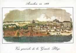 33 Arcachon Vieille Gravure De 1866 Vue Générale De La Grande Plage En 1866 (2 Scans) - Arcachon