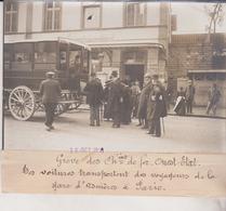 GRÈVE DES CHEMINS DE FER QUEST ETAT VOITURES VOYAGEURS GARE ASNIERES 18*13CM Maurice-Louis BRANGER PARÍS (1874-1950) - Trenes