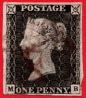 GBR SC #1 U (M,B) 1840 Queen Victoria 4-margins CV $320.00 - 1840-1901 (Victoria)