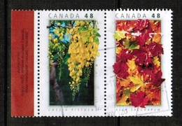 CANADA  Scott # 2000-1a VF USED SE-TENNANT PAIR  (Stamp Scan # 523) - 1952-.... Règne D'Elizabeth II