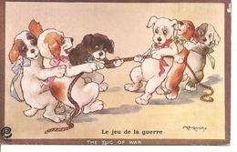 LE JRU DE LA GUERRE  The Tug Of War -  ILLUSTRATEUR KENNEDY - Chiens Humour - Cani