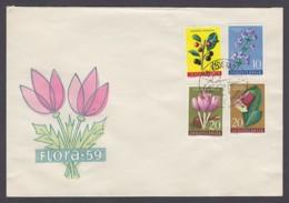 Jugoslawien Yugoslavia - Beleg - MiNr. 814, 882, 883, 884 - Flora 1959 - Sonderstempel Belgrad 1962 - FDC