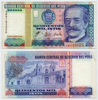 PERU - SCARCE 500 000 500000 INTIS NOTE W/ SILVER THREAD 1988 - XF/AU - Peru