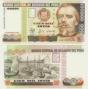 PERU - SCARCE 100 000 100000 INTIS NOTE W/ SILVER THREAD 1988 - UNC - Peru