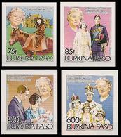 BURKINA FASO 1985 Queen Mother IMPERF.SET:4 Stamps - Burkina Faso (1984-...)