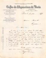 3-1615    Facture  1899  CAFES DE L AQUARIUM A PARIS - M.MONNET A COGNAC - France