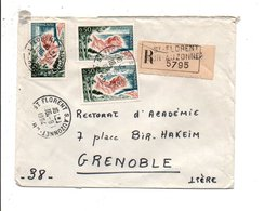 AFFRANCHISSEMENT COMPOSE SUR LETTRE RECOMMANDEE DE SAINT FLORENT SUR AUZONNES GARD 1964 - Marcophilie (Lettres)