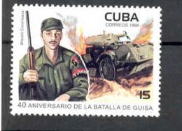 Cuba 1998 Battle Of Guisa, 50th Anniversary.  Tank, Soldier, Army. MNH. Scott 3968. Value $0.65 - Cuba