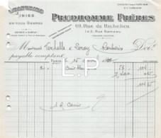 3371     1927  FACTURE PRUDHOMME FRERES A PARIS - M.VERHELLE & LEROY A ROUBAIX - France