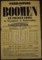 Affiche - Verkooping Van Boomen En Zware Snoei Op Neyghembosch En Denderwindeke - 28 Maert 1878 (Vente D'arbres à  Neyge - Afiches