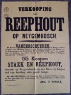 Affiche - Verkooping Van Staek En Reephout Op Neyghembosch - Maendag 23 October 1876 (vente De Bois) - Afiches