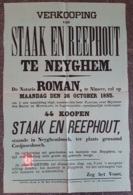 Affiche - Verkooping Van Staak En Reephout Op Neyghem - 26 October 1885 (vente De Bois) - Affiches