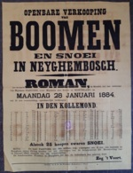 Affiche - Openbare Verkooping Van Boomen En Snoei In Neyghembosch - 28 Januari 1884 (vente Publique D'arbres) - Afiches