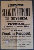 Affiche - Verkooping Van Staek En Reephout Op Neyghem - 27 October 1884 (vente De Bois) - Afiches
